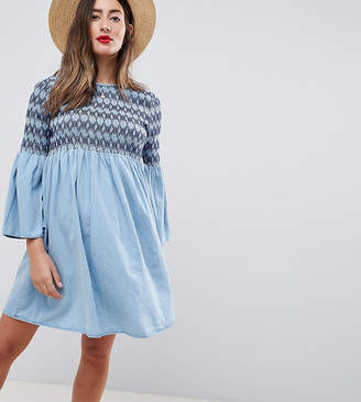 Asos DESIGN Maternity smock dress with embroidery in midwash blue