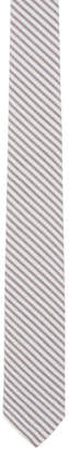 Thom Browne Grey and White Seersucker Short Tie