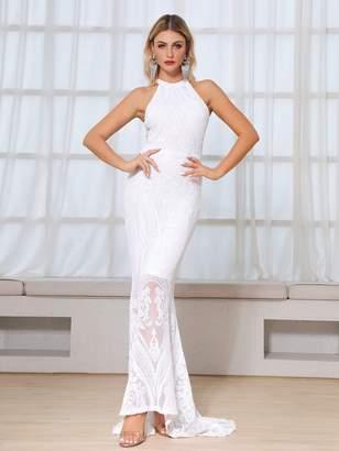 Shein DKRX Halterneck Floor Length Sequin Prom Dress