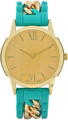 FASHION WATCHES Womens Green Silicone and Gold-Tone Strap Watch