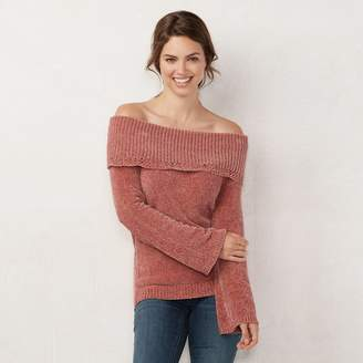 Lauren Conrad Women's Off-the-Shoulder Chenille Sweater