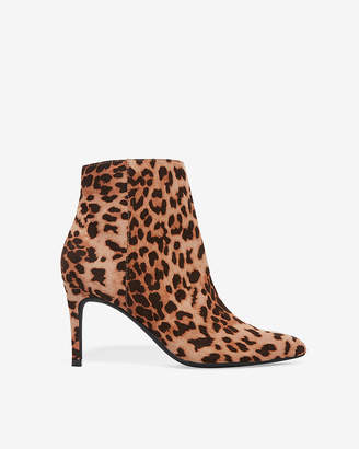 Express Leopard Print Thin Heel Booties