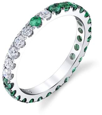 SHAY Diamond and Emerald Eternity Band Ring - White Gold