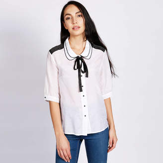 LAGOM Carla Cotton Silk Blouse White Black