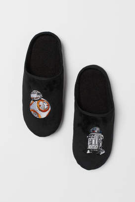 H&M Slippers with Embroidery - Black