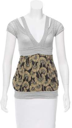 Just Cavalli Metallic Short Sleeve Top