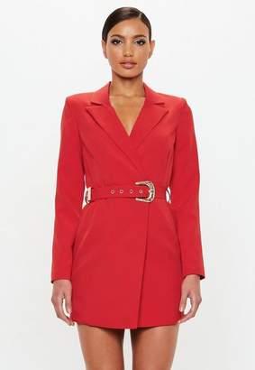 Missguided Red Belted Blazer Dress