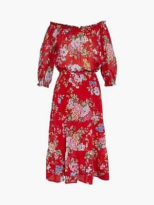 Gerard Darel Gait Floral Bardot Cotton Dress, Red/Multi