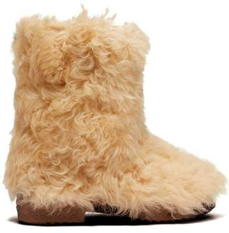 Saint Laurent Shearling Ankle Boots - Womens - Cream