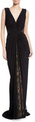 Tadashi Shoji Pintuck Jersey & Lace V-Neck Gown