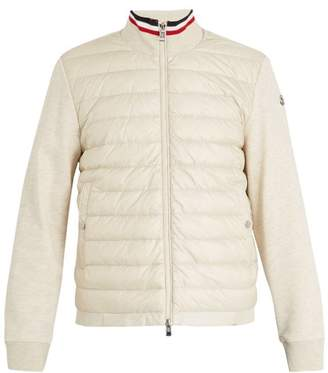 Moncler High Neck Contrast Panel Quilted Down Jacket - Mens - Cream
