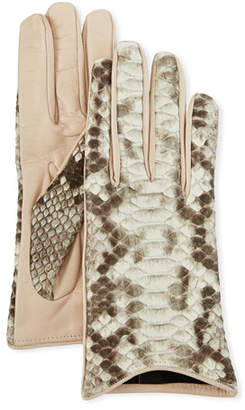 Guanti Giglio Fiorentino Lamb Leather & Python Snake Short Gloves