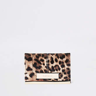 River Island Brown leopard print travel card holder