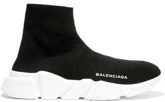 Balenciaga - Speed Stretch-knit High-top Sneakers - Black $545 thestylecure.com