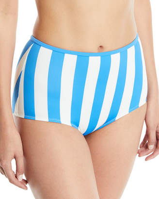BRIGITTE Solid and Striped The High-Waist Striped Swim Bottoms