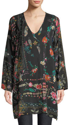 Johnny Was Plus Size Canvasita Floral-Print Long-Sleeve Easy Blouse