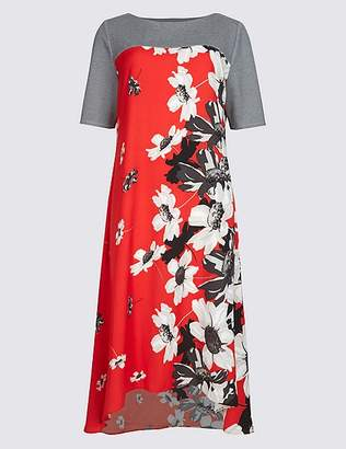 Marks and Spencer Floral Print Short Sleeve Swing Midi Dress