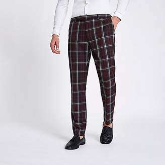 River Island Dark red check skinny suit pants