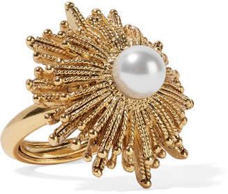 Oscar de la Renta - Sun Star Gold-plated Faux Pearl Ring $190 thestylecure.com