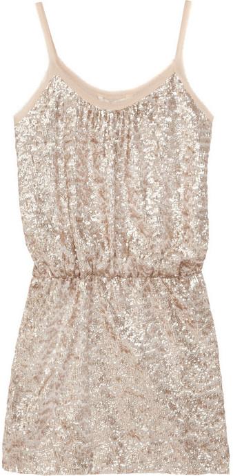 Rebecca Taylor Sequin-embellished fine-knit mini dress