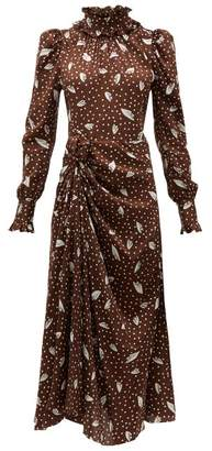 Alessandra Rich High Neck Printed Jacquard Silk Dress - Womens - Brown Multi