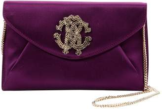 Roberto Cavalli Purple Cloth Clutch Bag