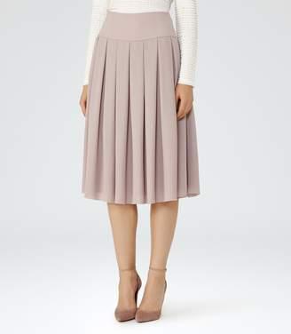 Reiss Eli - Pleated Midi Skirt in Ice Rose