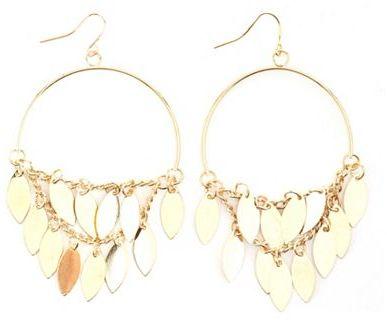 Charlotte Russe Dangling Leaf Hoop Earrings