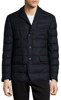 Moncler Rodin Quilted Button-Down Jacket, Navy $1,315 thestylecure.com