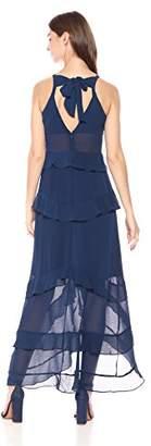 Rachel Roy Women's Sleeveless Tiered Solid Chiffon Maxi Dress