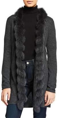 Neiman Marcus Cashmere Open-Front Cardigan with Fox Fur Trim