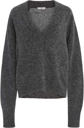 Tibi Chunky V-Neck Airy Pullover Sweater