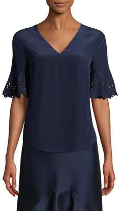 Draper James Crepe Eyelet V-Neck Bell-Sleeve Silk Blouse