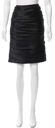 Carmen Marc Valvo Ruched Satin Skirt w/ Tags