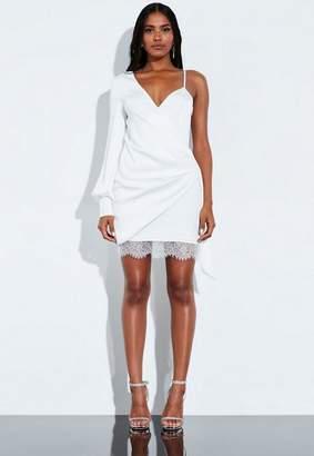 Missguided Ivory One Shoulder Lace Hem Mini Dress