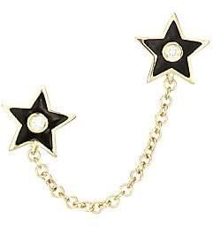 Ef Collection Women's 14K Yellow Gold, Diamond & Enamel Star Double Chain Stud Earring