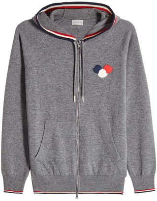 Moncler Zipped Virgin Wool Jacket with Hood
