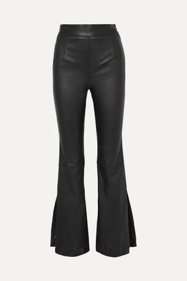 SOLACE London Almada Leather Bootcut Pants - Black