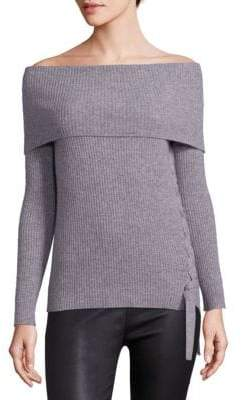 Le Sexy Ribbed Cashmere Off-The-Shoulder Pullover