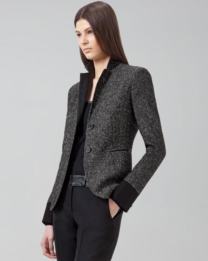 Akris Punto Faux-Leather-Trimmed Two-Button Blazer