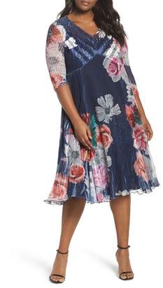 Komarov V-Neck Floral Print Chiffon Dress