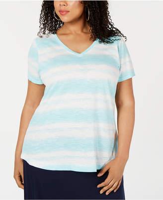 Style&Co. Style & Co Plus Size Tye Dye Striped Top