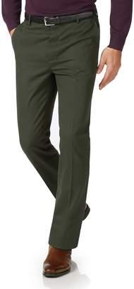 Charles Tyrwhitt Dark Green Slim Fit Flat Front Non-Iron Cotton Chino Pants Size W30 L30