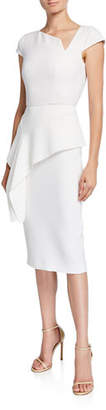 Roland Mouret Dandridge Asymmetric-Neck Cap-Sleeve Peplum Fitted Crepe Cocktail Dress