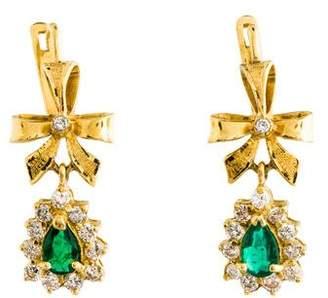 18K Emerald & Diamond Ribbon Drop Earrings