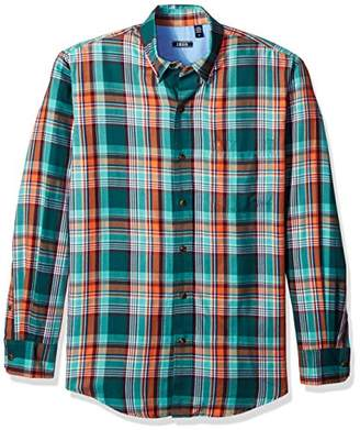 Izod Men's Long Sleeve Saltwater Twill Easycare Plaid Shirt