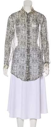 Pierre Balmain Silk Semi-Sheer Button-Up Top