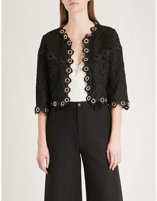 Maje Mojia lace and mesh jacket