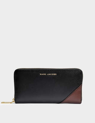 Marc Jacobs Saffiano Standard Continental Wallet in Black Multi Split Cow Leather