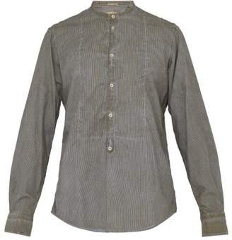 Massimo Alba Striped Henley Cotton Shirt - Mens - Khaki Stripe
